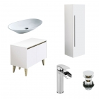 1000mm Vanity Unit, Countertop Basin, Tall Storage Unit, Tap & Waste