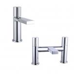 Basin & Bath Tap Set - Chrome Round Handle - By Voda Design