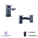 Black Tap Set Douglas Mono Basin Mixer, Bath Filler - Free Waste